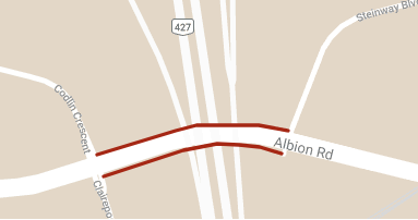 Map depicting traffic disruption on Albion road between Codlin Crescent and Steinway Boulevard