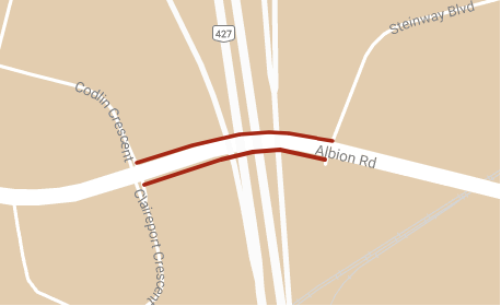 Map depicting location of lane restrictions on Albion Road between Codlin Crescent and Steinway Boulevard